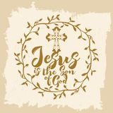 Lettrage de bible Christian Art Jésus est le fils de Dieu illustration stock