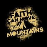Lettrage de bible Christian Art La foi peut déplacer des montagnes illustration stock
