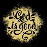 Lettrage de bible Illustration chrétienne Dieu est bon illustration stock