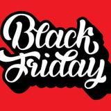 Lettrage de Black Friday avec le volume sur le fond rouge Illustration de vecteur Calligraphie en lettres de main pour le logo, b Illustration Stock