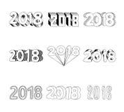 Lettrage 2018 de bonne année Art de nombre de l'illustration 3D de vecteur Photo stock