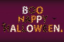 Lettrage de Boo Happy Halloween Vecteur Mots pour des invitations illustration stock