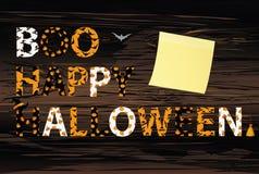 Lettrage de Boo Happy Halloween Vecteur sur le dos en bois Mots pour illustration libre de droits