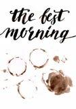 Lettrage de café de matin d'aquarelle sur le fond blanc sur le brun Photos stock
