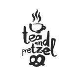 Lettrage de calligraphie de thé et de bretzel Image libre de droits