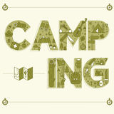 Lettrage de camping Carte postale de voyage dans le style d'ensemble illustration de vecteur