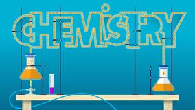 Lettrage de CHIMIE Les lettres chimiques de mot ont formé par des tubes de verre avec le liquide de bouillonnement orange reliant Images libres de droits