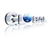 Lettrage de chrome de 3 D avec le mot global et globe de la terre dans le pla Photographie stock