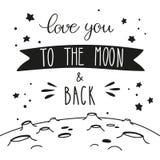 Lettrage de ciel nocturne et paysage lunaire Amour manuscrit d'inscription vous à la lune et au dos illustration de vecteur