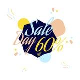Lettrage de couleur pour le signe d'offre de vente spéciale, jusqu'à 60 pour cent  Illustration plate ENV 10 Images libres de droits