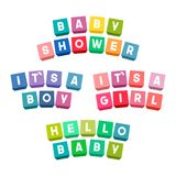 Lettrage de fête de naissance sur les briques colorées de jouet illustration de vecteur