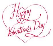 Lettrage de jour de valentines sur le coeur Images stock