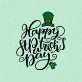 Lettrage de jour de St Patricks Affiche de vacances de vecteur D'isolement connectez-vous le fond vert Grand pour la carte de voe illustration libre de droits