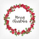 Lettrage de Joyeux Noël à l'intérieur de la guirlande de vacances ou de la guirlande circulaire faite d'airelles Le cadre rond s' illustration de vecteur