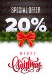 Lettrage de Joyeux Noël Vente de vacances 20 pour cent  Nombres de neige sur le fond en bois avec la guirlande de sapin et l'arc  illustration libre de droits