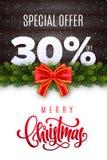 Lettrage de Joyeux Noël Vente de vacances 30 pour cent  Nombres de neige sur le fond en bois avec la guirlande de sapin et l'arc  illustration libre de droits