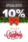 Lettrage de Joyeux Noël Vente de vacances 10 pour cent  Nombres de neige sur le fond en bois avec la guirlande de sapin et l'arc  illustration libre de droits
