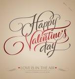Lettrage de la main de Valentine () Photographie stock libre de droits