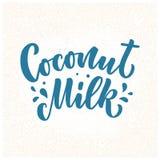 Lettrage de lait de noix de coco pour la conception de banni?re, de logo et d'emballage Nourriture saine de nutrition organique E photographie stock