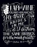 Lettrage de main avec le vers de bible je suis la vigne, vous suis les branches sur le fond noir illustration libre de droits