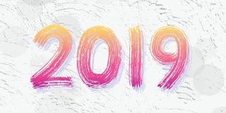 lettrage de main de 2019 chiffres Séchez l'effet de texture de brosse An neuf heureux Joyeux Noël Graduation Illustration de vect Image libre de droits