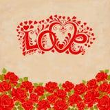 Lettrage de main d'amour Carte de jour de valentines avec les roses rouges Photos stock