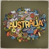 Lettrage de main d'Australie et éléments de griffonnages illustration libre de droits