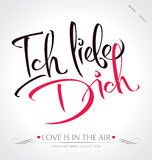Lettrage de main d'ICH LIEBE DICH () Photographie stock libre de droits