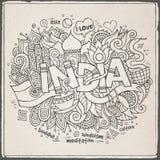 Lettrage de main d'Inde et éléments de griffonnages Images stock