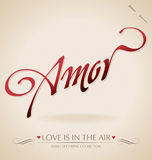 Lettrage de main de « Amor » () Images libres de droits