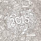 lettrage de main de 2015 ans et éléments de griffonnages Photo stock
