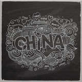 Lettrage de main de la Chine et craie d'éléments de griffonnages Images stock