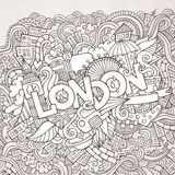 Lettrage de main de Londres et éléments de griffonnages Photographie stock libre de droits