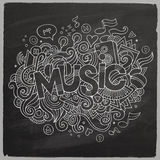 Lettrage de main de musique et éléments de griffonnages Photographie stock libre de droits