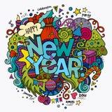 Lettrage de main de nouvelle année et éléments de griffonnages Photographie stock