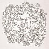 Lettrage de main de nouvelle année et éléments de griffonnages Image libre de droits