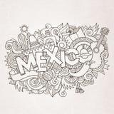 Lettrage de main de pays du Mexique et éléments de griffonnages Image libre de droits