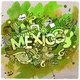 Lettrage de main de pays du Mexique et éléments de griffonnages Photos libres de droits
