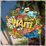 Lettrage de main du Haïti et emblème d'éléments de griffonnages Image stock