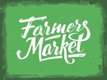 Lettrage de main du marché d'agriculteurs Affiche de cru Images libres de droits