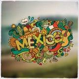 Lettrage de main du Mexique et emblème d'éléments de griffonnages Image libre de droits