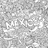 Lettrage de main du Mexique et fond d'éléments de griffonnages Photographie stock libre de droits