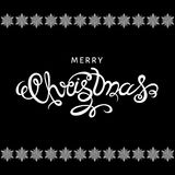 Lettrage de main de Joyeux Noël sur le fond noir illustration de vecteur