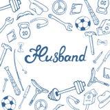 Lettrage de main de mari Carte de voeux pour le jour du conjoint dans le style de griffonnage illustration de vecteur