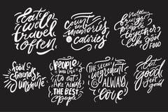 Lettrage de main pour la cuisine, café, menu Illustration moderne illustration stock