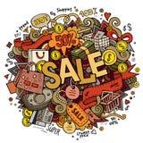 Lettrage de main de vente et fond d'éléments de griffonnages Photo libre de droits