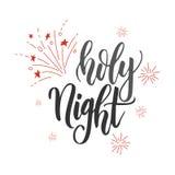 Lettrage de manuscrit d'écriture de Holly Night Mariez la carte de voeux de Noël Lettrage moderne de brosse Emblème de vecteur, t Photo libre de droits