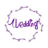 Lettrage de mariage avec le cadre floral élégant Photos libres de droits