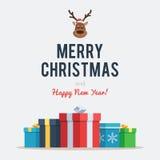 Lettrage de Noël avec des cerfs communs et des boîtes Photos stock