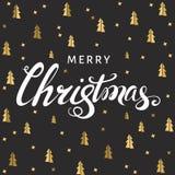 Lettrage de Noël sur le fond noir avec les sapins d'or Photos stock